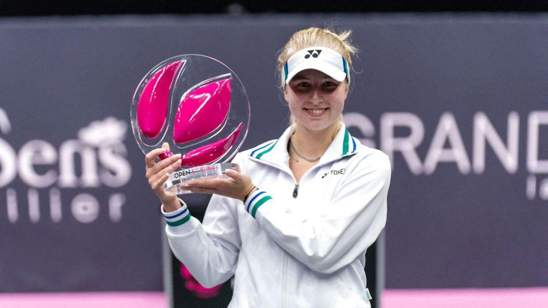Clara Tauson, da hun i marts vandt WTA-turneringen i Lyon.