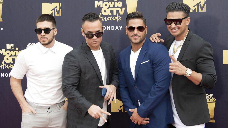 Ronnie Ortiz-Magro (nummer tre fra venstre) med sine Jersey Shore-kollegaer, Vinnie Guadagnino, Mike Sorrentino og Pauly D.