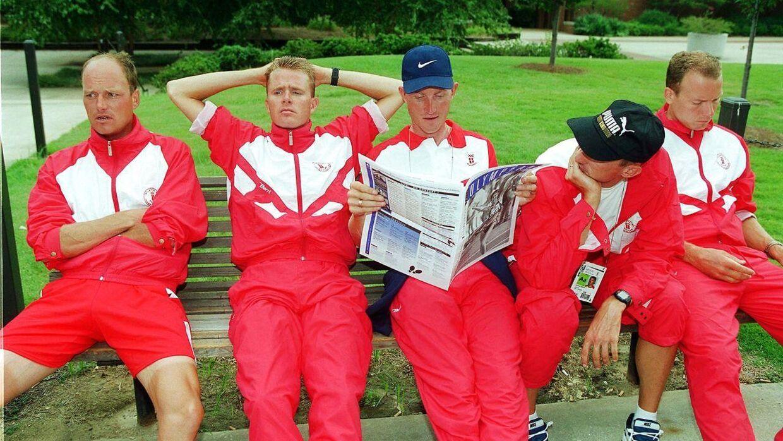 Jørgen Leth sammenligner nutidens jubeltid med 1990'ernes gyldne generation. Her Bjarne Riis, Rolf Sørensen, Brian Holm, Jesper Skibby og Lars Michaelsen ved OL i 1996.