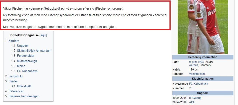 Viktor Fischers Wikipedia-side har fået en overhaling efter søndagens kamp mod AGF.