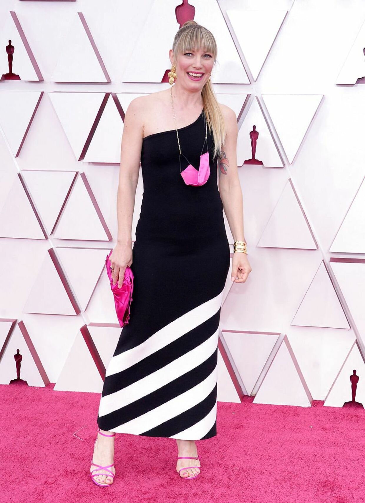 """Danish filmmaker Elvira Lind, Oscar nominated for Best Live Action Short """"The Letter Room"""", arrives at the Oscars on April 25, 2021, at Union Station in Los Angeles. (Photo by Chris Pizzello / POOL / AFP)"""