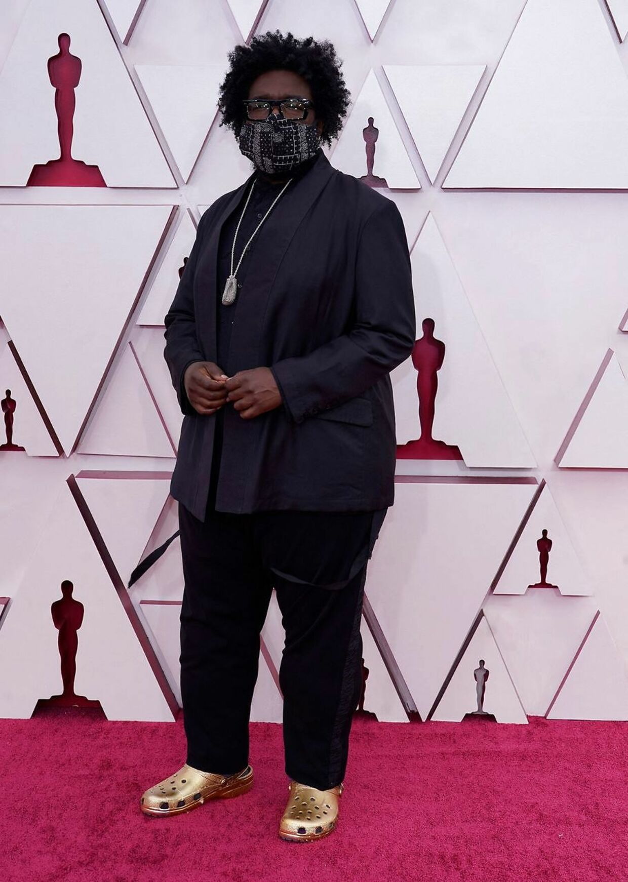 This year's Oscars musical director Questlove arrives at the Oscars on April 25, 2021, at Union Station in Los Angeles. (Photo by Chris Pizzello / POOL / AFP)