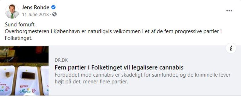 Jens Rohde kalder her en legalisering af hash for »sund fornuft,« men i dag forklarer han, at han ikke går ind for en legalisering, men en aflkriminalisering af hash. Kristendemokraterne forklarede i 2015, at de er »helt uenige« i at legalisere hash.