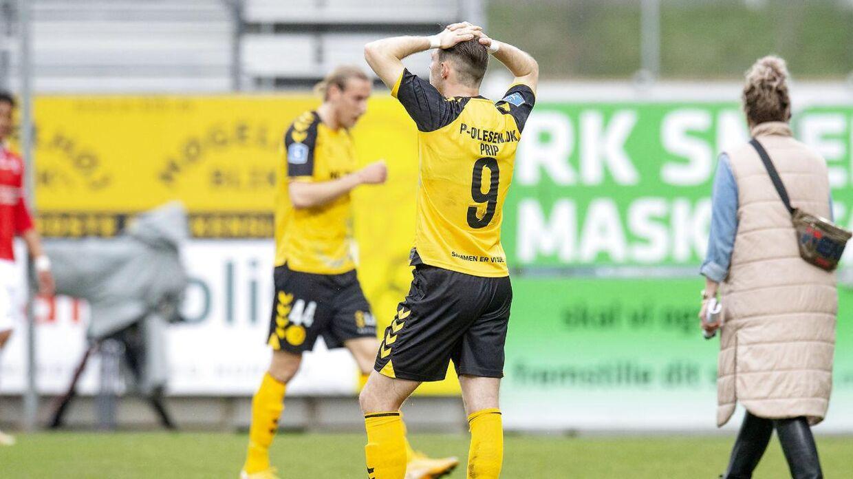 Det var en flok skuffede Horsens-spillere efter kampen.