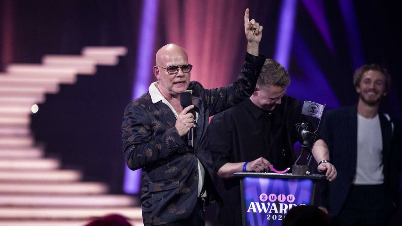 Årets par blev Martin Jensen og Thomas Blachmann. Zulu Awards i K.B. Hallen torsdag 29. april 2021. (foto: Martin Sylvest/Ritzau Scanpix 2021).