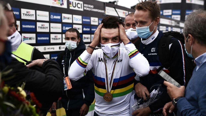 Her ses den nuværende verdensmester i cykling, Julian Alaphilippe.