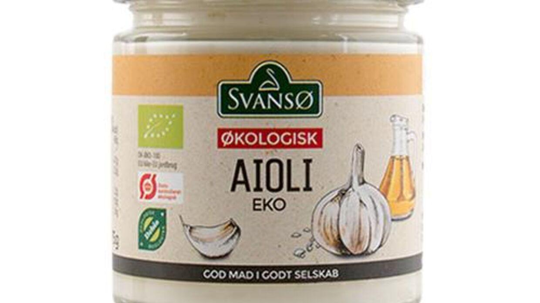 Svansø Økologisk Aioli, bedst før dato: 19/12/2021. Lotnummer: L1 + L2. EAN stregkode nr.: 5701116015043 tilbagekaldes.