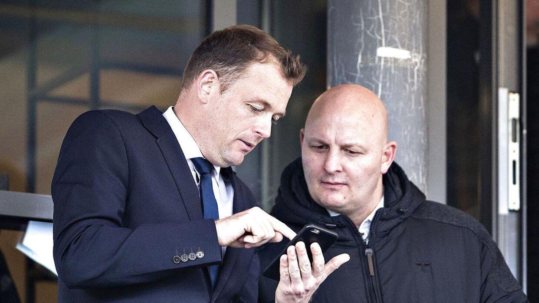 AGF's direktør, Jacob Nielsen (tv.) og klubben tidligere sportschef, Peter Christiansen (th.).