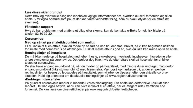 Her er et udklip af det brev, som Claudia Fallesen modtog fra Hovedstadens psykiatri.