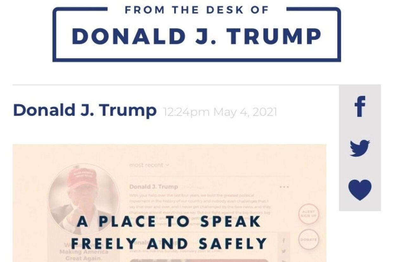 Tidligere præsident Donald Trump har lanceret From the Desk of Donald J. Trump på sin hjemmeside. Screenshot/Free