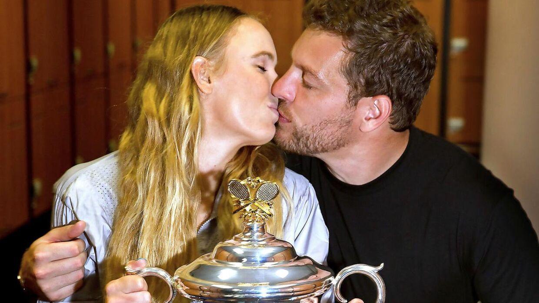 David Lee var med, da Caroline Wozniacki vandt Australian Open i 2018.