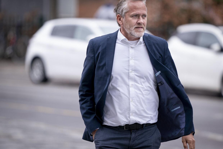 Anders Samuelsen ankommer til Retten på Frederiksberg torsdag. Tibetkommissionen fortsætter afhøringer i sagen om politiets håndtering af kinesiske besøg gennem årene. Liselotte Sabroe/Ritzau Scanpix