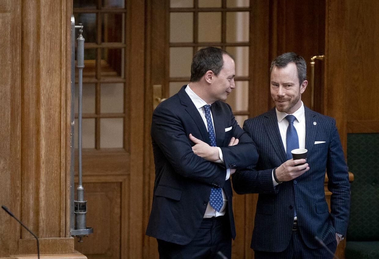 Venstres formand, Jakob Ellemann-Jensen, og Tommy Ahlers blev udnævnt som ministre samtidig, og de blev hurtigt gode venner. (Foto: Liselotte Sabroe/Ritzau Scanpix)