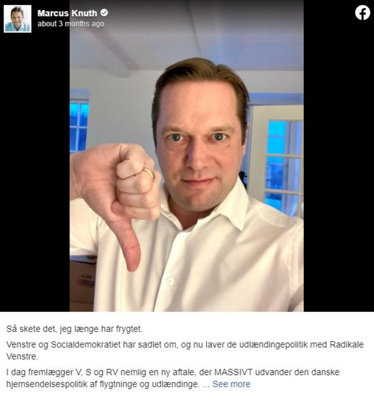 Der udbrød strid i blå blok, da Venstre gik enegang og lavede en aftale med Socialdemokratiet om repatrieringsstøtte. Her er det Marcus Knuth, der på sin Facebook-profil udtrykte sin utilfredshed.