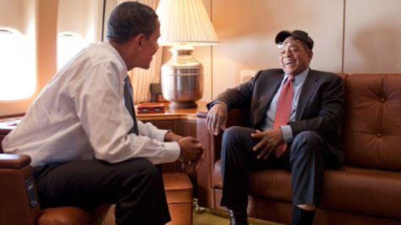 Barack Obama og Willie Mays sammen i 2009.