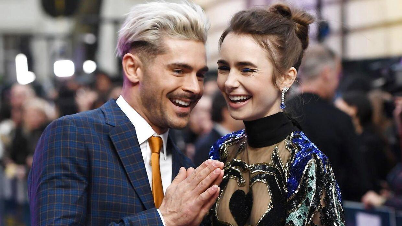 Zac Efron og den britiske skuespillerinde Lily Collins til premieren på 'Extremely Wicked, Shockingly Evil and Vile' i London i 2019.
