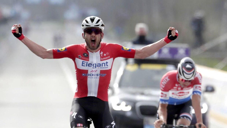 Kasper Asgreen fortsætter sin storform i denne sæson. Her fra triumfen i Flandern Rundt.