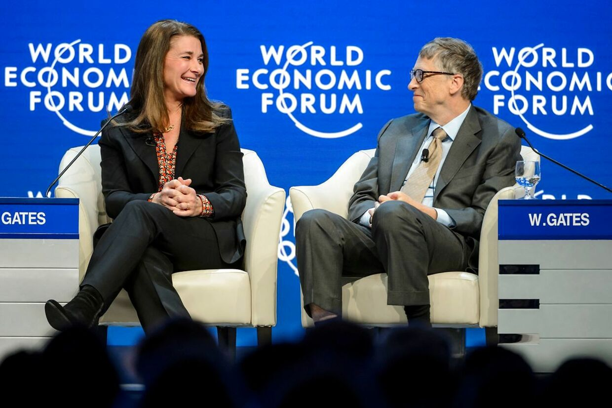 (FILES) In this file photo taken on January 23, 2015 Melinda and Bill Gates attend a session at the Congress Center during the World Economic Forum (WEF) annual meeting in Davos. - The shock announcement that billionaire philanthropists Bill and Melinda Gates are to divorce after 27 years of marriage, on May 3, 2021, has raised questions about the future of their hugely influential charity. The couple say the idea for the foundation came to them as young parents when they read a newspaper article about millions of children in developing countries dying from easily treatable illnesses such as diarrhea and pneumonia. (Photo by Fabrice COFFRINI / AFP)