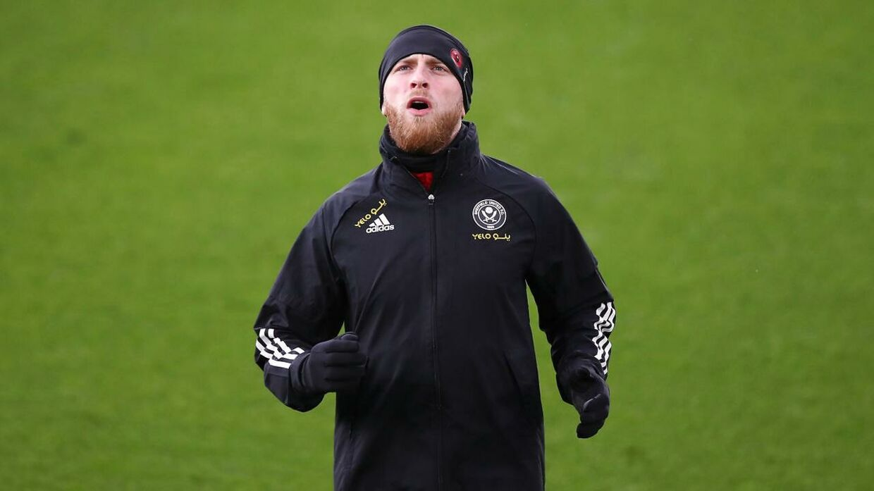 Soccer Football - Premier League - Leicester City v Sheffield United - King Power Stadium, Leicester, Britain - March 14, 2021 Sheffield United's Oli McBurnie during the warm up before the match Pool via REUTERS/Alex Pantling EDITORIAL USE ONLY.No use with unauthorized audio, video, data, fixture lists, club/league logos or 'live' services. Online in-match use limited to 75 images, no video emulation.No use in betting, games or single club /league/player publications. Please contact your account representative for further details.