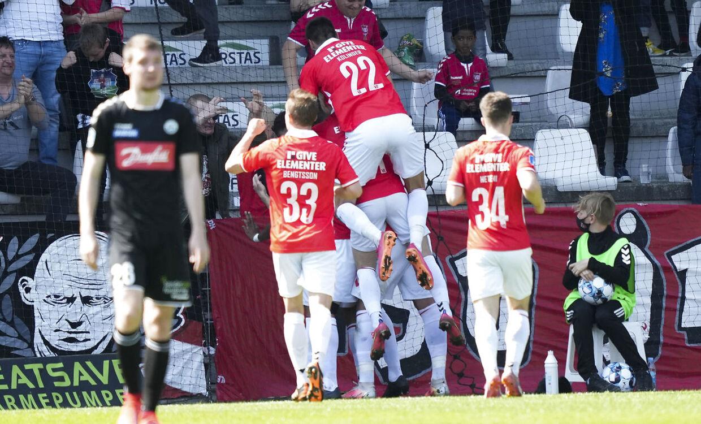 1 - 0 til VB ved Allan Sousa (VB - 50) Superliga: Vejle Boldklub - SønderjyskE søndag den 9 maj 2021. Vejle Stadion.. (Foto: Claus Fisker/Ritzau Scanpix)