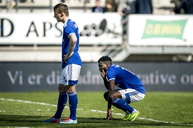 Lyngby BKs Magnus Kaastrup og Lyngby BKs Kevin Tshiembe ærger sig efter 3F Superligakampen mellem Lyngby Boldklub og AC Horsens på Lyngby Stadion i Kongens Lyngby, søndag den 9. maj 2021.