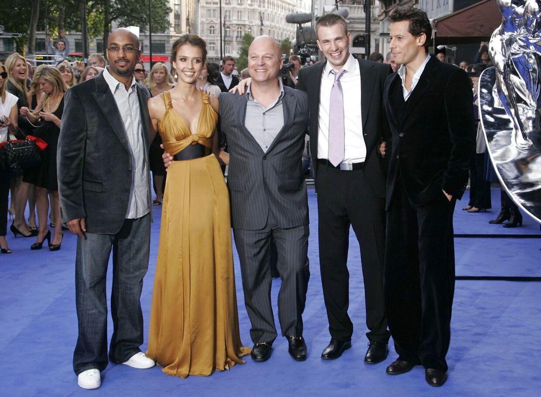 'Fantastic Four'-holdet: Instruktør Tim Story, Jessica Alba, Michael Chiklis, Chris Evans og Ioan Gruffudd.