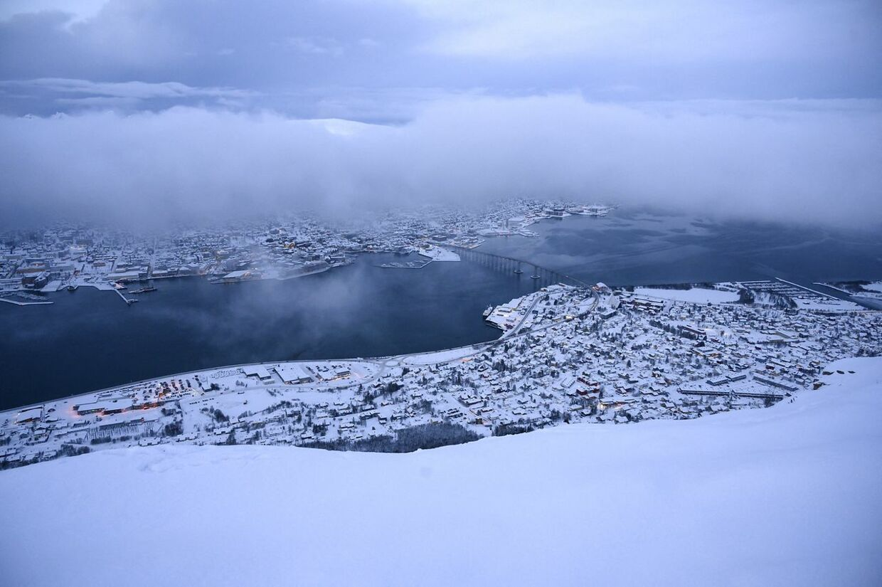 Arkivfoto. A general view of the city of Tromso on January 19, 2019 in northern Norway, during polar night season. Olivier MORIN / AFP
