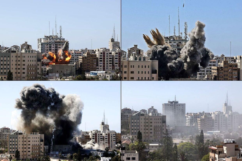 Lørdag blev Jala Tower, der huser forskellige internationale medier i Gaza, jævnet med jorden ved et israelsk luftangreb. Det israelske militær havde forinden udsendt en advarsel, så ansatte havde tid til at forlade bygningen. (Foto: Mahmud Hams / AFP)