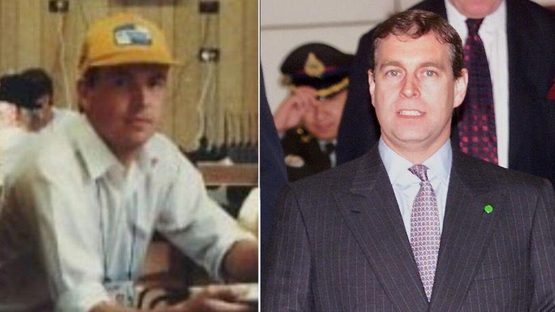 Billedet som Dorante-Day har delt af sig selv (v) samt et billede af prins Andrew fra 1999.