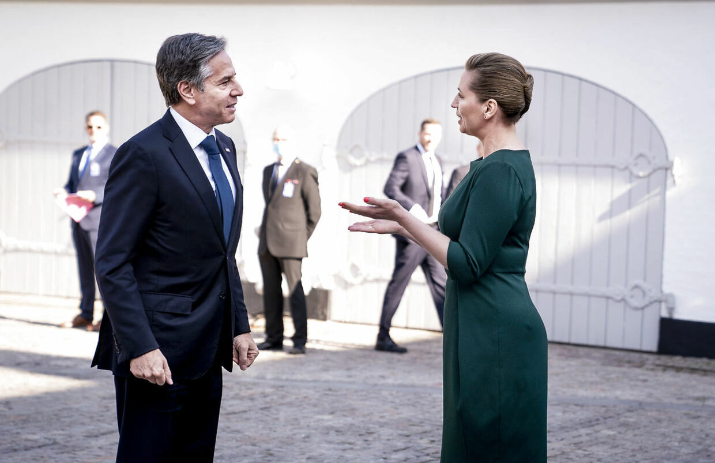 Statsminister Mette Frederiksen (S) tager imod USAs udenrigsminister, Antony Blinken, ved Marienborg mandag 17. maj 2021.