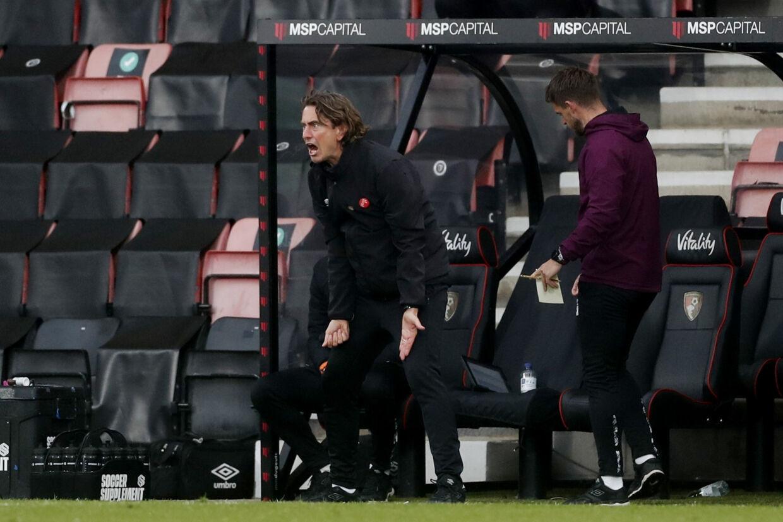 Thomas Frank kommer til at piske sine spillere frem ad banen i returopgøret mod Bournemouth. Matthew Childs/Ritzau Scanpix