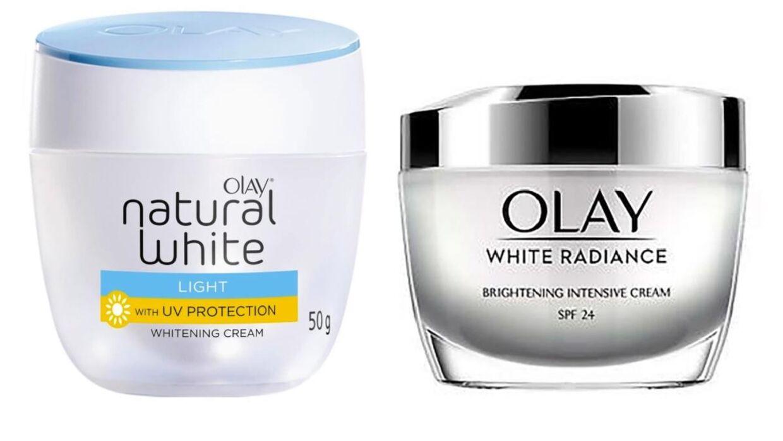 De omstridte cremer: 'Natuaral White' og 'White Radiance'.