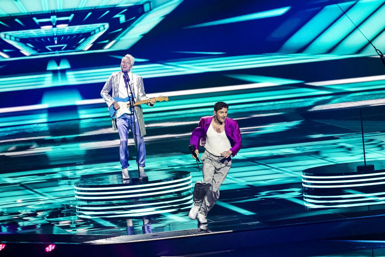 Fyr Og Flamme optræder til generalprøven på den anden semifinale til Eurovision 2021 i Rotterdam Ahoy i Rotterdam, onsdag den 19. maj 2021.. (Foto: Emil Helms/Ritzau Scanpix)