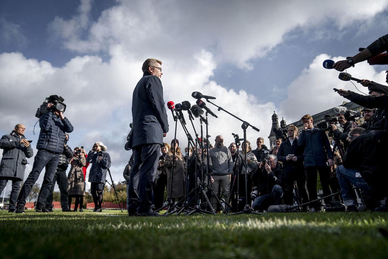Frank Jensen (S) på pressemødet hvor han meddeler sin tilbagetrækning som overborgmester i København mandag d 19. oktober.
