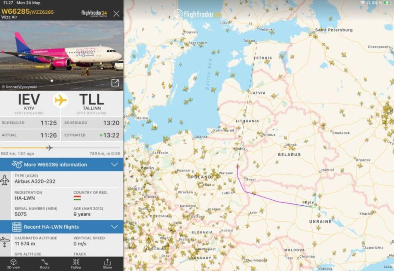 Således så en rute fra et Wizz Air-fly fra Kiev til Tallinn ud mandag