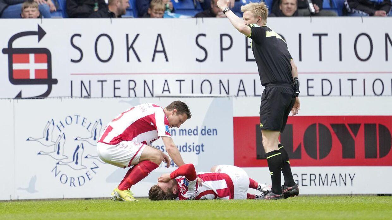 Lucas Andersen måtte udskiftes efter 16 minutter i kampen mod Sønderjyske.