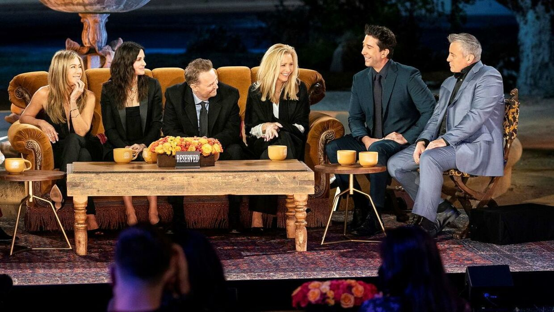 Jennifer Aniston, Courteney Cox, Matthew Perry, Lisa Kudrow, David Schwimmer og Matt Leblanc i 'Friends: The Reunion'.