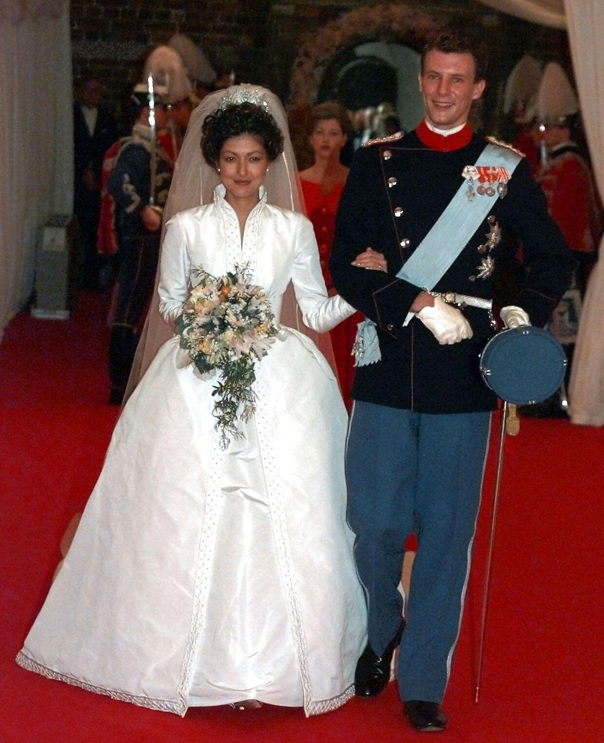Prins Joachim og grevinde Alexandra ved deres bryllup i 1995.