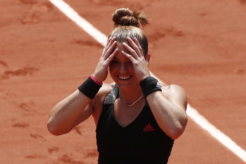 Maria Sakkari havde svært ved at fatte, at hun nu er klar til semifinalen i French Open. Benoit Tessier/Reuters
