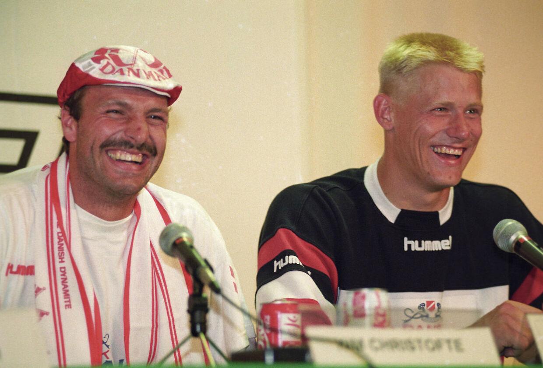 Kim Christofte og Peter Schmiechel på et pressemøde efter finalesejren over Tyskland.