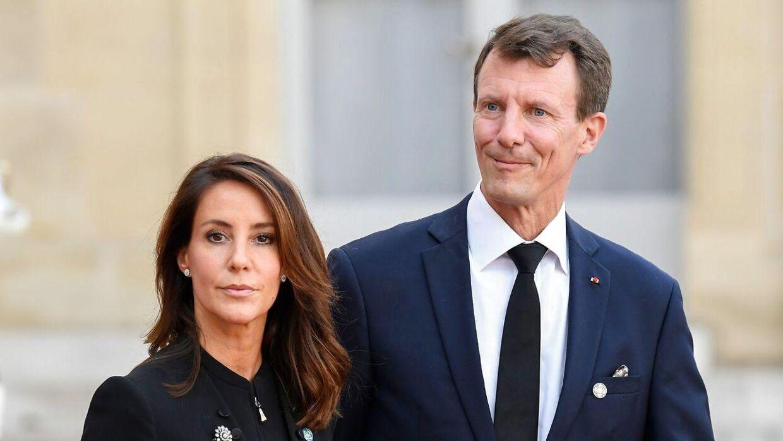 Prins Joachim og prinsesse Marie ses her ved mindehøjtidligheden for den tidligere franske præsident, Jacques Chirac.