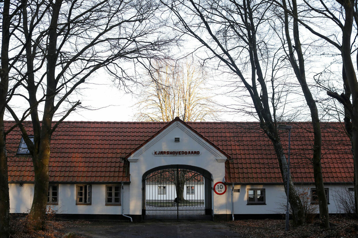 """The front entrance is seen at Kaershovedgaard, a former prison and now a departure centre for rejected asylum seekers, in Jutland, Denmark, March 25, 2019. REUTERS/Andrew Kelly SEARCH """"KELLY KAERSHOVEDGAARD"""" FOR THIS STORY. SEARCH """"WIDER IMAGE"""" FOR ALL STORIES."""