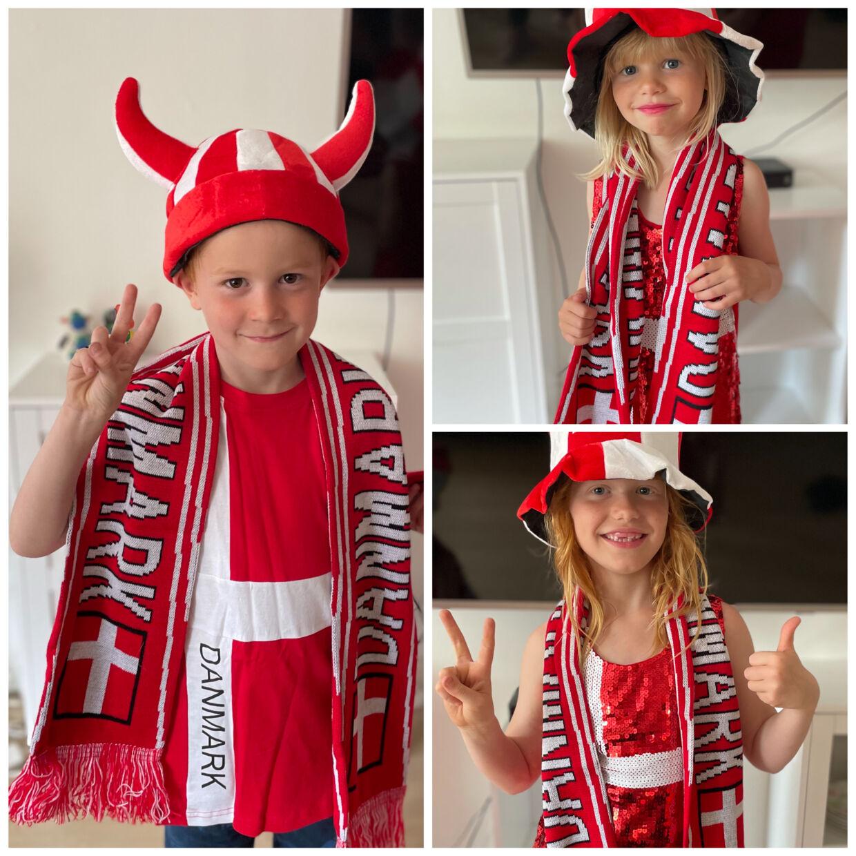 Heidi Knudsens børn flager for Danmark.