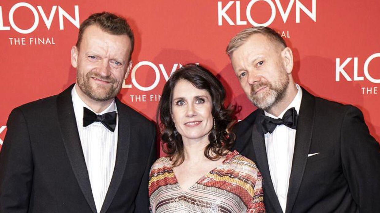 Frank Hvam, Mia Lyhne og Casper Christensen på den røde løber til gallapremiere på filmen 'Klovn The Final' den 29. januar 2020. (Foto: Niels Christian Vilmann/Ritzau Scanpix)