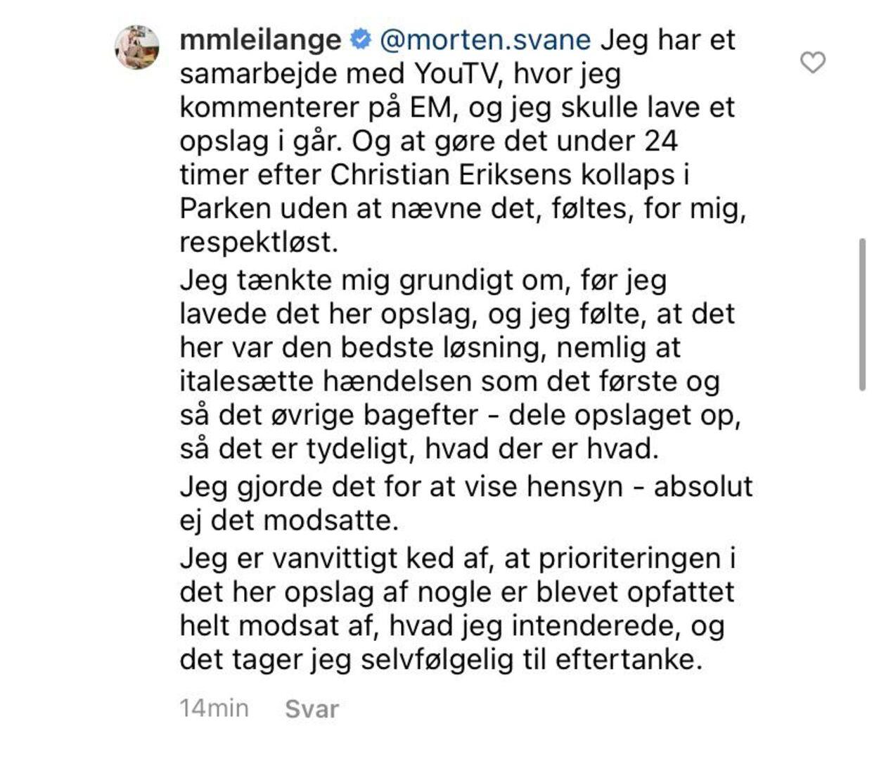 Mette Marie Lei Langes forklarer, hvilke tanker der lå bag opslaget. Foto: Screenshot