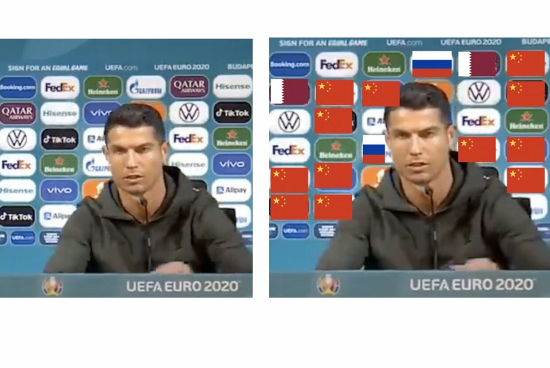 Det samme billede af Cristiano Ronaldo. Det første uredigeret. Det andet, hvor flag erstatter de sponsorer, der er fra lande som Kina, Rusland og Qatar.