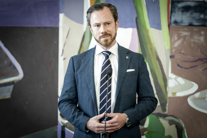 Jakob Ellemann-Jensen (V) møder pressen efter spørgetime i folketingssalen på Christiansborg i København, tirsdag den 11. maj 2021.. (Foto: Mads Claus Rasmussen/Ritzau Scanpix)