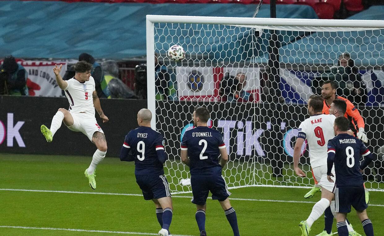 Soccer Football - Euro 2020 - Group D - England v Scotland - Wembley Stadium, London, Britain - June 18, 2021 England's John Stones heads at goal Pool via REUTERS/Matt Dunham
