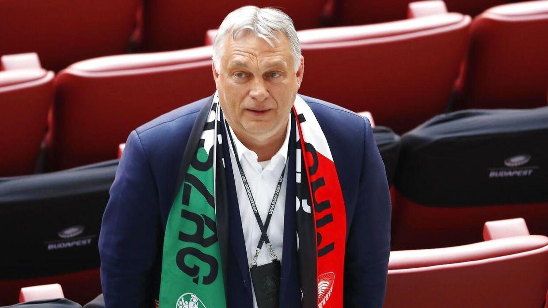 Den ungarske premierminister Viktor Orban. Her til landets kamp mod Portugal ved EM.