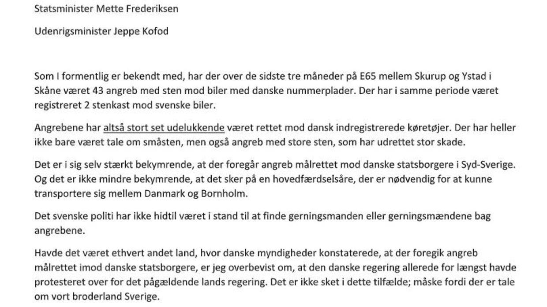 En del af Peter Skaarups brev til Jeppe Kofod og Mette Frederiksen.